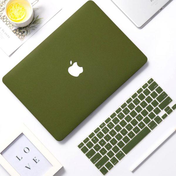 Combo ốp kèm phủ phím Macbook Màu Xanh Rêu