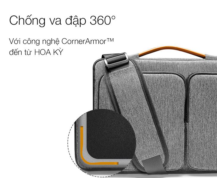 Tomtoc A42 - Gray Sử dụng công nghệ chống va đập 360 CornerArmor™